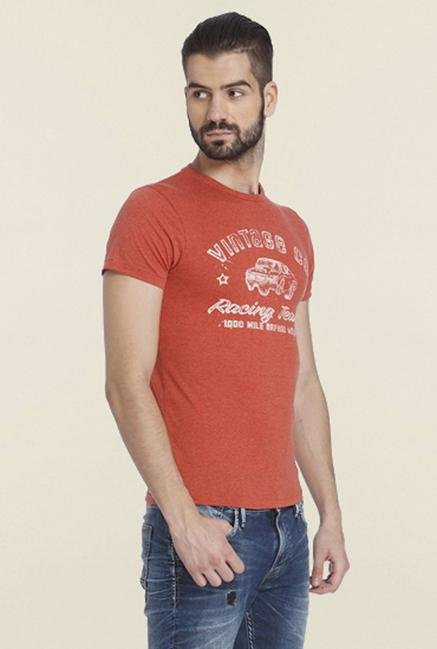 Jack & Jones Orange Print Crew T-shirt