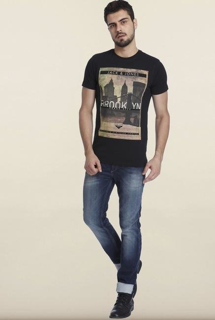 Jack & Jones Black Graphic Printed T-shirt