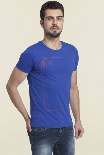 Jack & Jones Blue Printed Crew T-shirt