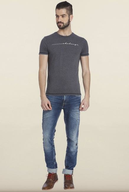 Jack & Jones Dark Grey Print Crew T-shirt