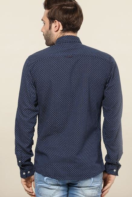 Jack & Jones Navy Printed Casual Shirt