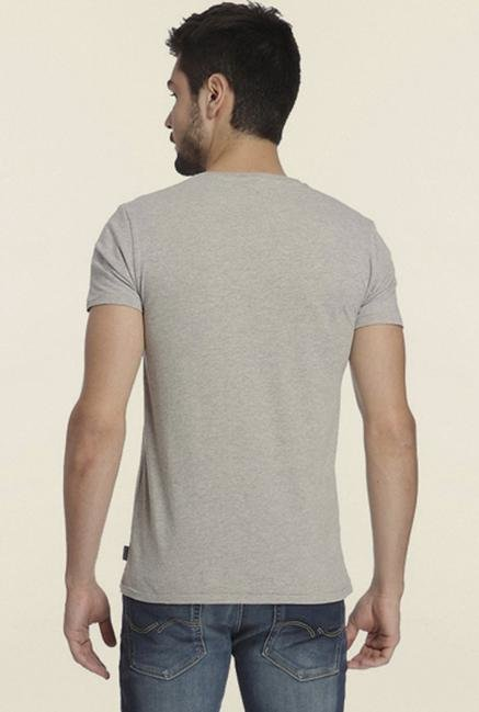 Jack & Jones Grey Graphic Printed Crew Neck T-shirt