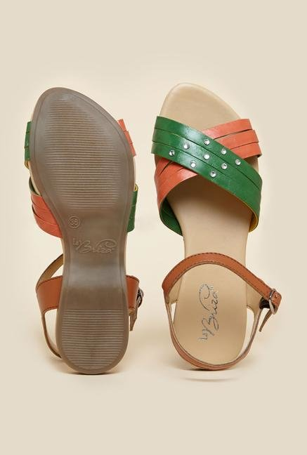 La Briza Green & Brown Flat Sandals