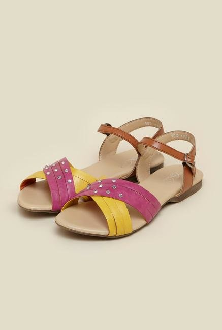 La Briza Pink & Yellow Flat Sandals