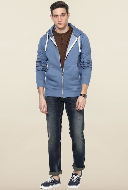 Jack & Jones Blue Cotton Hoodie