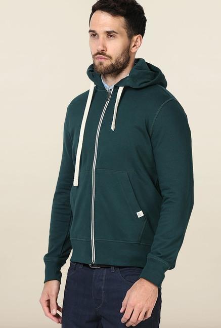 Jack & Jones Green Solid Hoodie