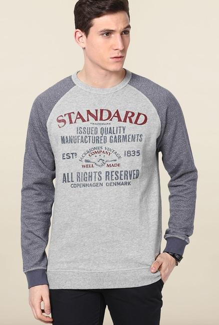 Jack & Jones Light Grey Cotton Sweatshirt