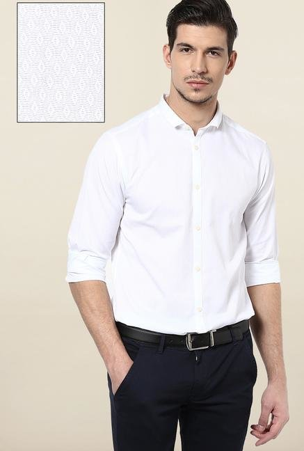 Jack & Jones White Self Printed Casual Shirt