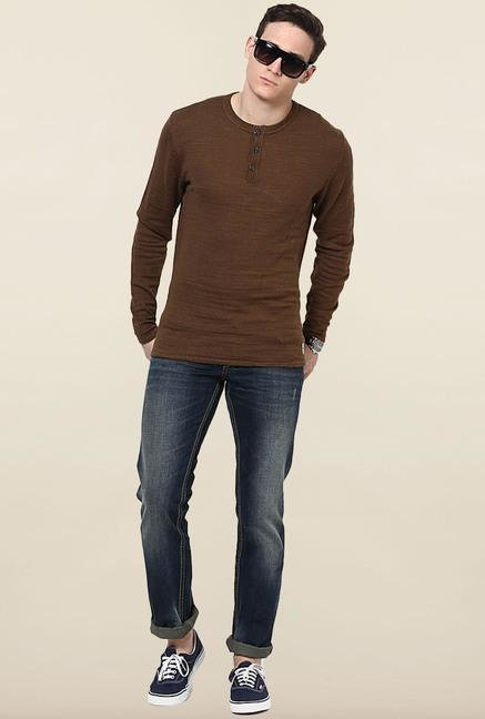 Jack & Jones Brown Solid Sweatshirt