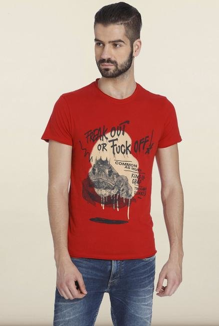 Jack & Jones Red Printed T-Shirt