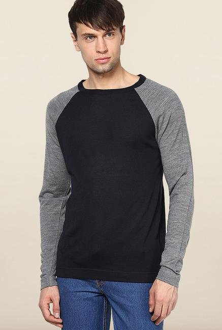 Jack & Jones Black Solid Woollen Sweatshirt