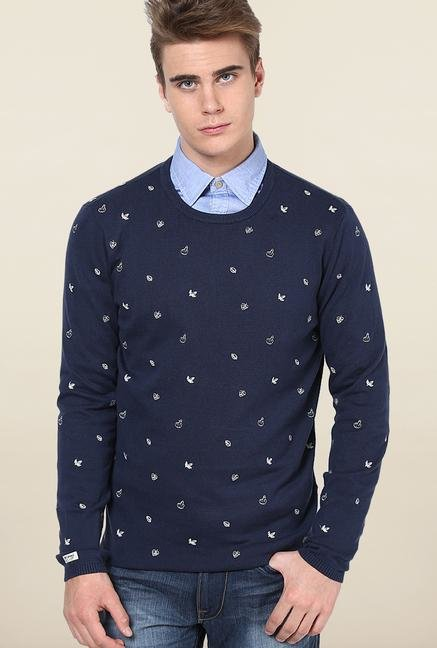 Jack & Jones Navy Printed Sweatshirt