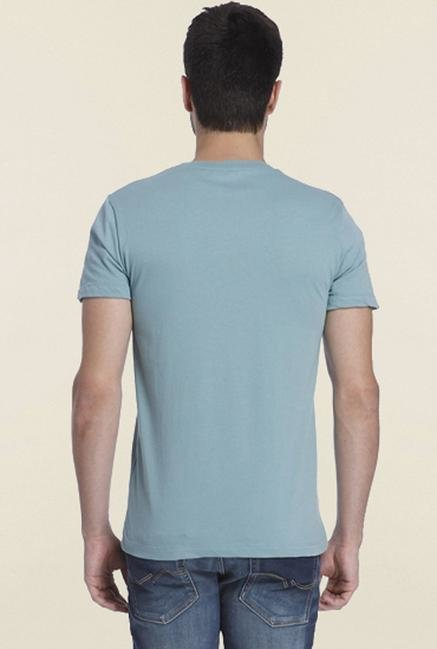 Jack & Jones Light Blue Print Crew T-shirt