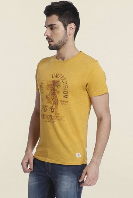 Jack & Jones Yellow Printed Cotton Crew T-shirt