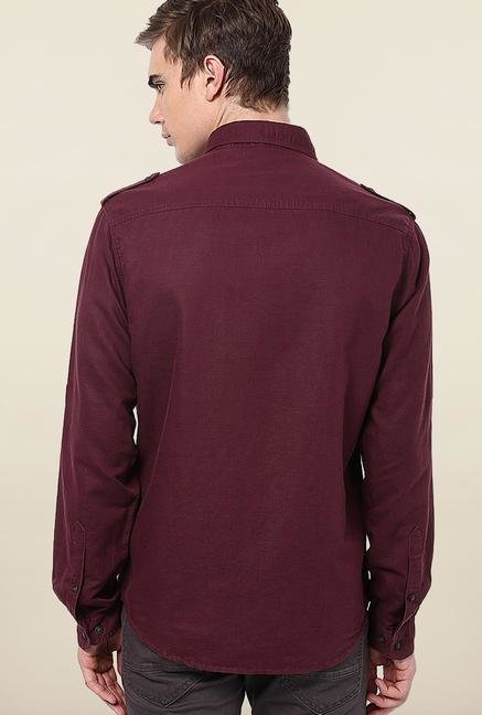 Jack & Jones Maroon Solid Slim Fit Casual Shirt