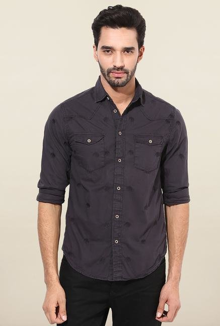 Jack & Jones Black Printed Casual Shirt