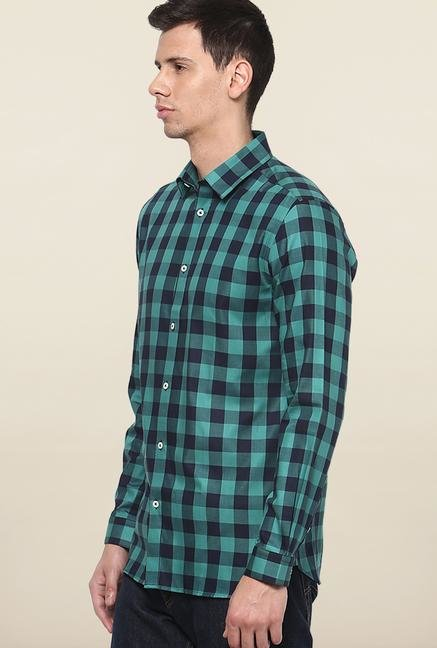 Jack & Jones Turquoise And Navy Checks Casual Shirt