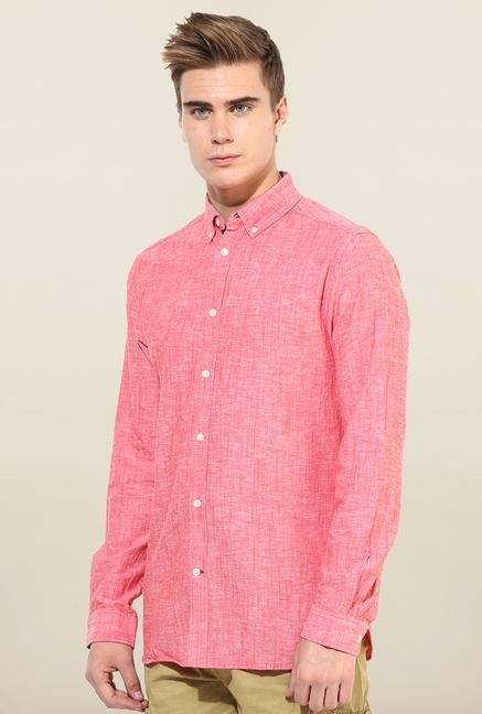 Jack & Jones Pink Solid Button Down Casual Shirt