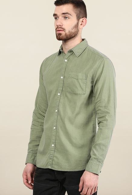 Jack & Jones Olive Solid Slim Fit Casual Shirt