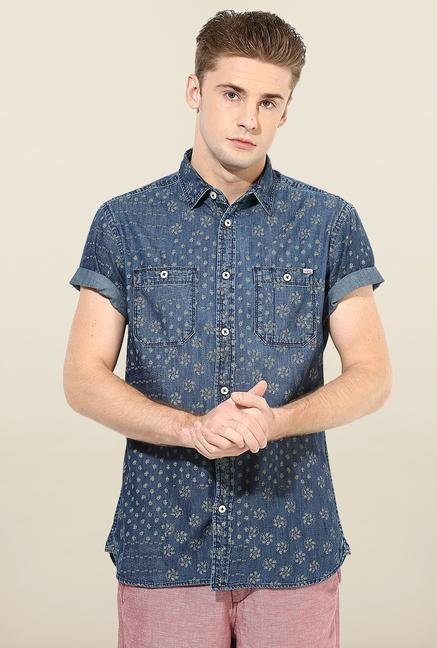 Jack & Jones Dark Blue Printed Casual Shirt