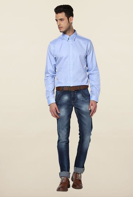 Jack & Jones Blue Self Printed Cotton Shirt