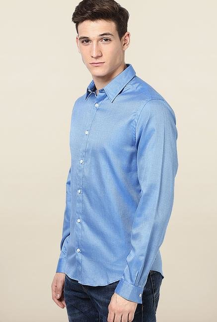 Jack & Jones Blue Self Printed Slim Fit Casual Shirt