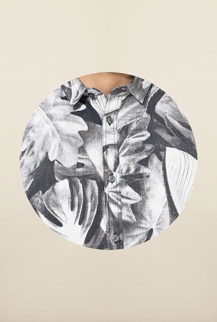 Jack & Jones Black And White Printed Casual Shirt