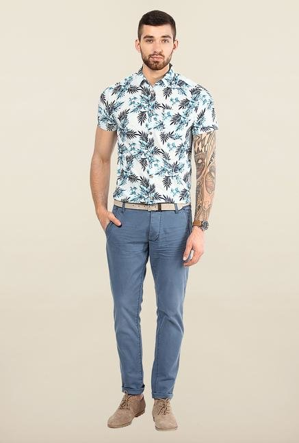 Jack & Jones White And Blue Floral Printed Casual Shirt