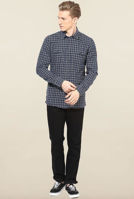 Jack & Jones Navy Checks Casual Shirt