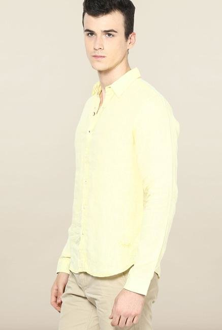 Jack & Jones Yellow Solid Linen Casual Shirt