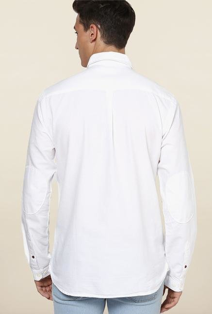 Jack & Jones White Cutaway Collar Solid Casual Shirt
