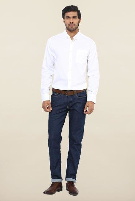 Jack & Jones White Solid Slim Fit Cotton Casual Shirt