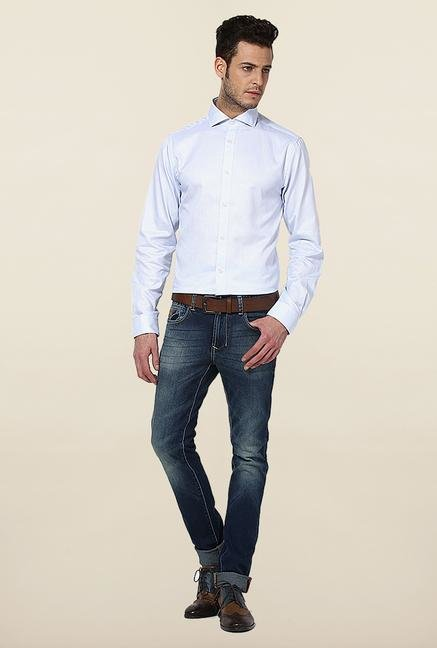 Jack & Jones Light Blue Self Printed Casual Shirt