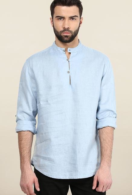 Jack & Jones Sky Blue Solid Slim Fit Casual Shirt