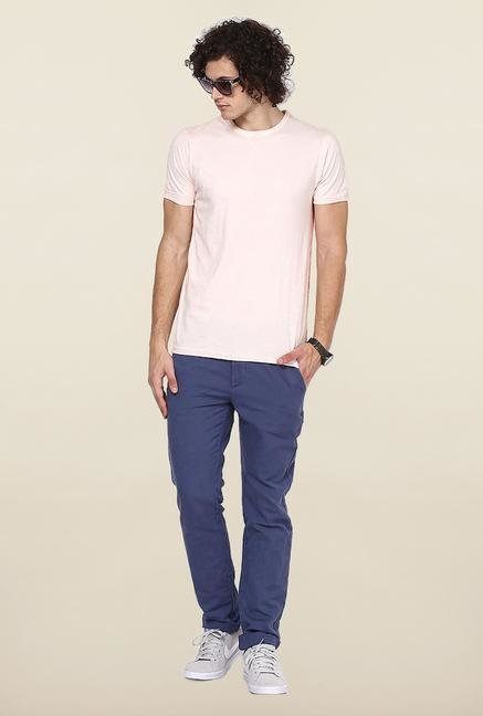 Jack & Jones Light Pink Solid T-Shirt