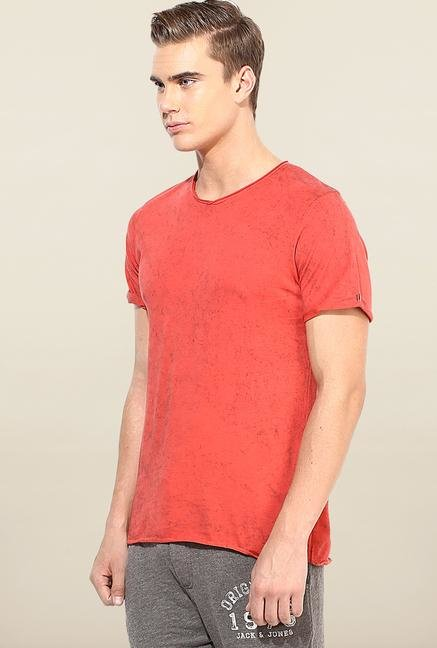 Jack & Jones Red Solid Slim Fit T-Shirt