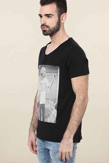 Jack & Jones Black V-Neck Printed T-Shirt