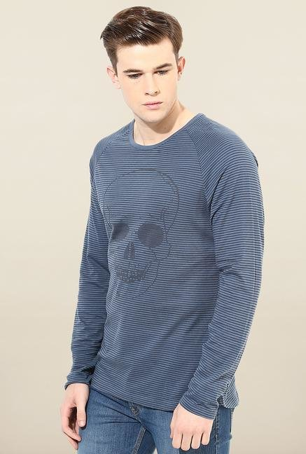 Jack & Jones Blue Full Sleeves Printed T-Shirt