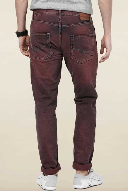 Jack & Jones Brown Solid Regular Fit Jeans