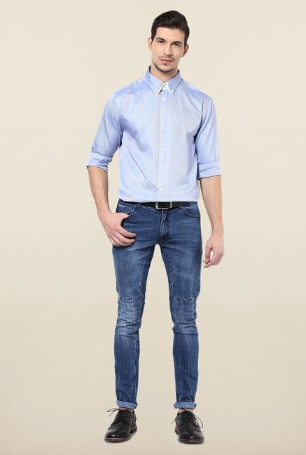 Jack & Jones Blue Solid Button Down Casual Shirt