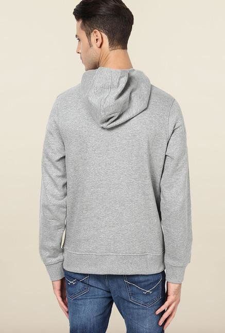 Jack & Jones Light Grey Printed Hoodie