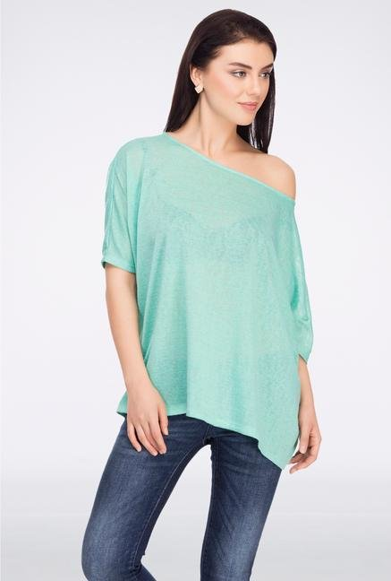 Femella Green Asymmetric Jersey Top