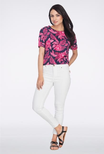 Femella Blue & Pink Floral Printed Crop Top