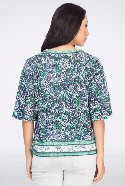 Femella Green Floral Printed Top