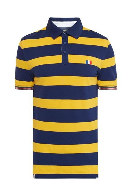 celio* Navy & Yellow Striped Polo T-Shirt