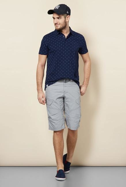 celio* Navy Printed Polo T-Shirt