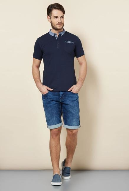 celio* Navy Solid Polo T-Shirt