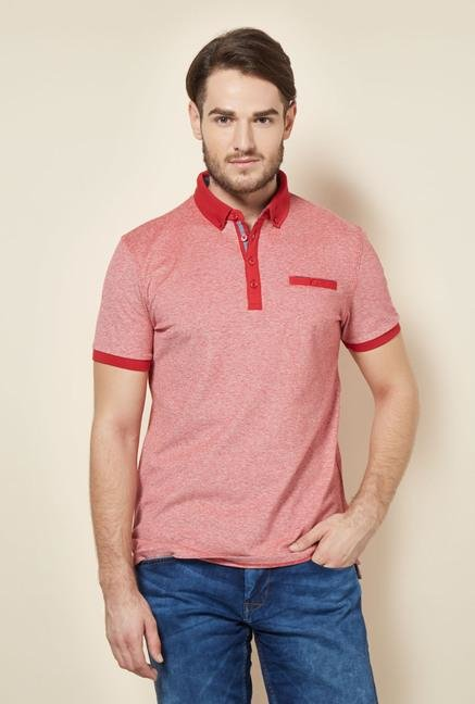 celio* Red Solid Slim Fit Polo T-Shirt
