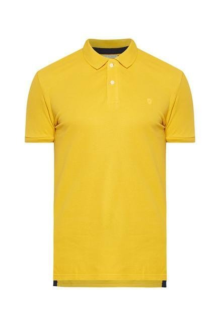 celio* Mustard Solid Polo T-Shirt