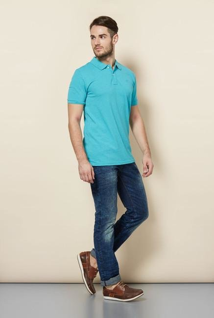 celio* Turquoise Solid Polo T-Shirt